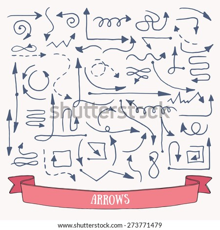 Hand drawn simple arrow, direction icons: vector set. - stock vector