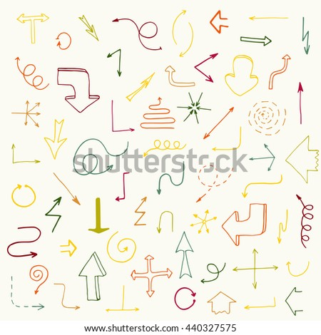 Hand drawn simple arrows set. Beautiful vintage colorful arrows. Fully editable business design element.  - stock vector