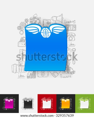 hand drawn simple elements with angel paper sticker shadow - stock vector