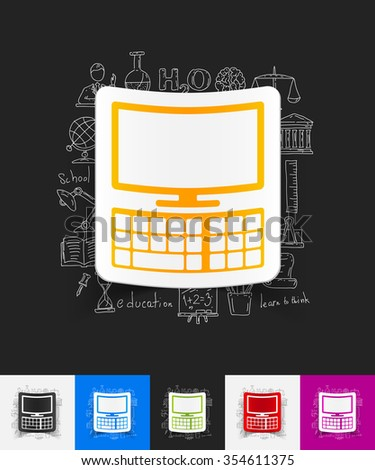 hand drawn simple elements with computer paper sticker shadow - stock vector