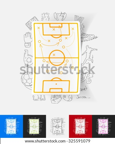 hand drawn simple elements with playing field paper sticker shadow - stock vector