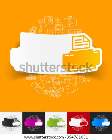 hand drawn simple elements with printer paper sticker shadow - stock vector