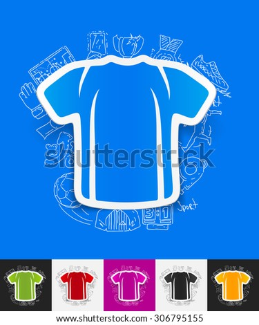 hand drawn simple elements with shirt paper sticker shadow