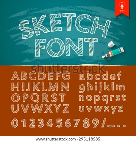 Hand drawn sketch alphabet and numbers collections, Vector illustration. - stock vector