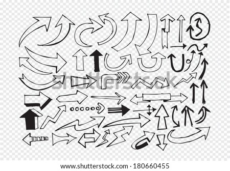 Hand drawn sketch arrow collection for your design - stock vector