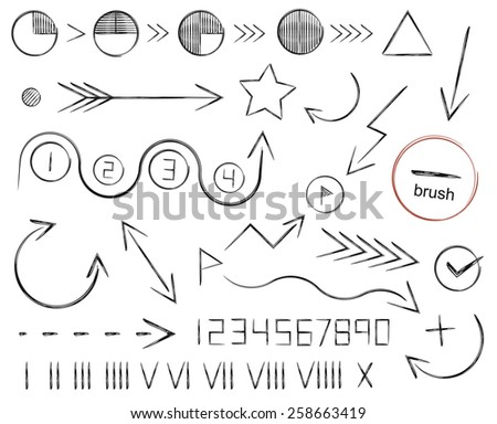 Hand drawn sketch arrows, numbers and shapes set. Vector clip art illustrations isolated on white - stock vector
