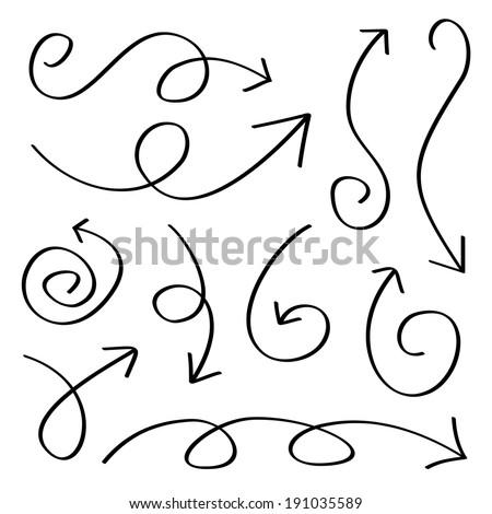 Hand drawn sketch arrows set - stock vector