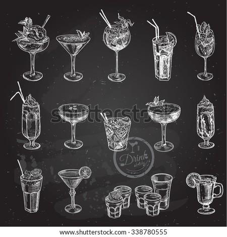 Hand drawn sketch big set of alcoholic cocktails. Vector illustration. Chalkboard background. - stock vector