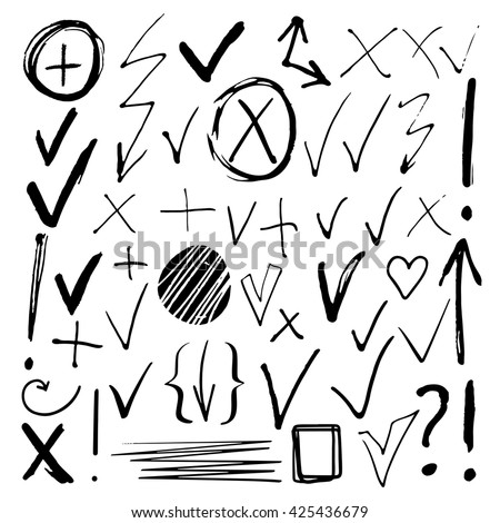 Hand drawn sketch black marker, brushed signs, arrows, lines, shapes, handwritten, marker design elements set  isolated on white background - stock vector