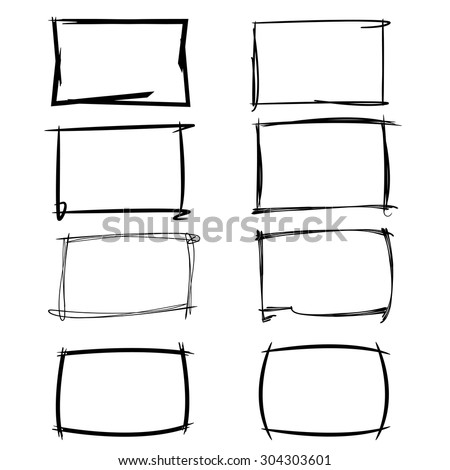 hand drawn, sketch border, rectangle frames - stock vector