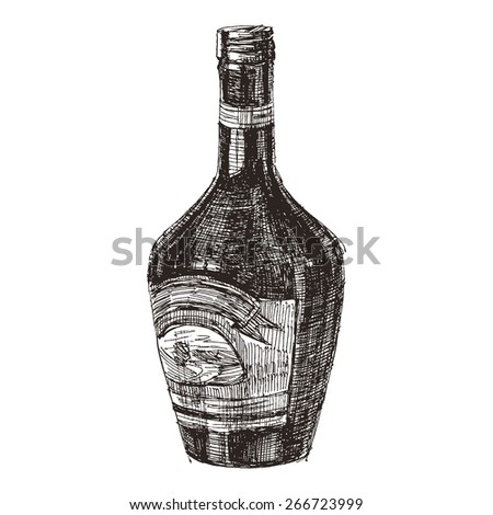 Hand drawn sketch bottle of liquor on a white background - stock vector