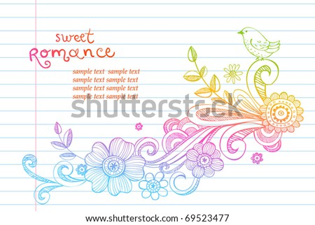 Hand-Drawn Sketch  floral composition, Vector Illustration - stock vector