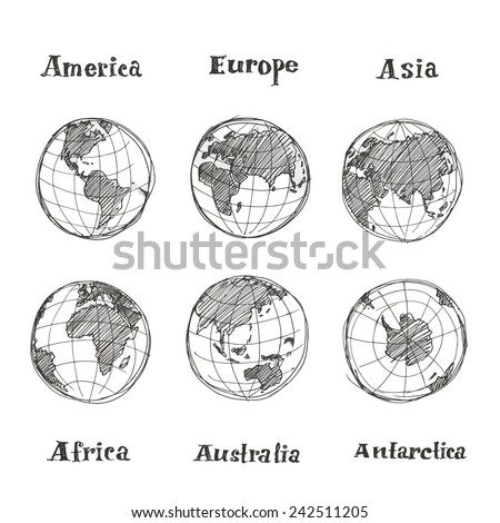 Hand drawn sketch globe - stock vector