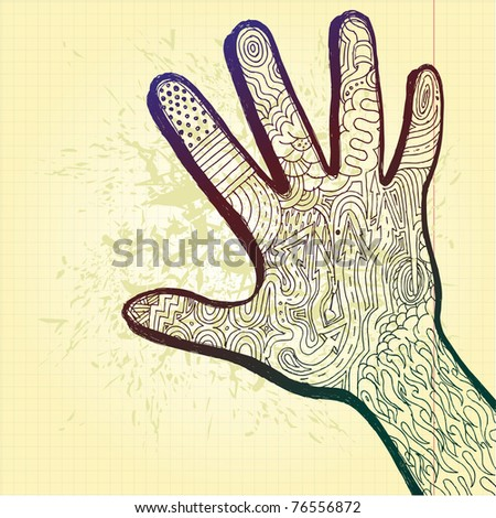 hand drawn sketch hand artwork filled with abstract tattoo like pattern of shapes and arrows