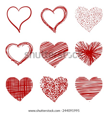 Hand-drawn sketch hearts for Valentines Day design. Vector illustration. - stock vector