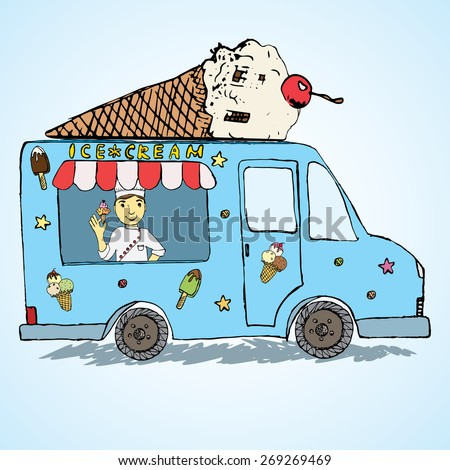 Hand drawn sketch Ice Cream Truck, Color filed and Playful with yang man seller and Ice Cream cone on top. - stock vector