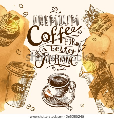 Hand drawn sketch illustration coffee for you design - stock vector