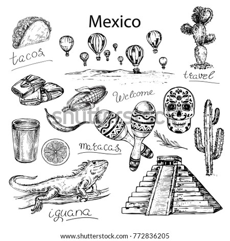 Hand drawn sketch illustration Mexico. Travel set