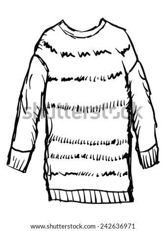 hand drawn, sketch illustration of female winter pullover - stock vector