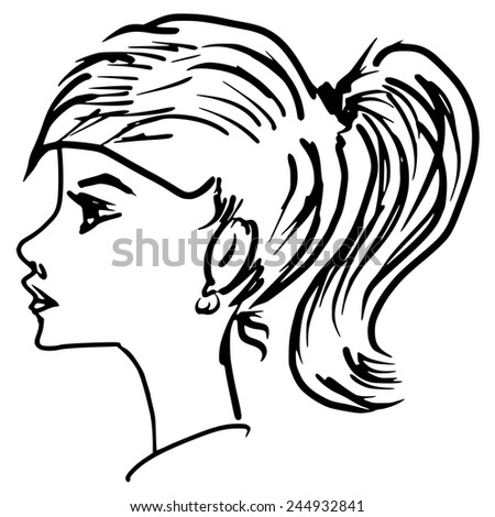 hand drawn, sketch illustration of girl
