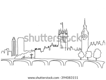 Hand drawn sketch illustration of London landscape including Big Ben and Houses of Parliament - stock vector
