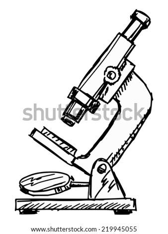 hand drawn, sketch illustration of microscope - stock vector