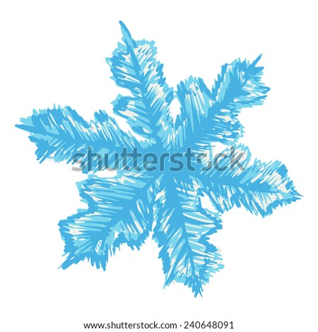 hand drawn, sketch illustration of snowflake