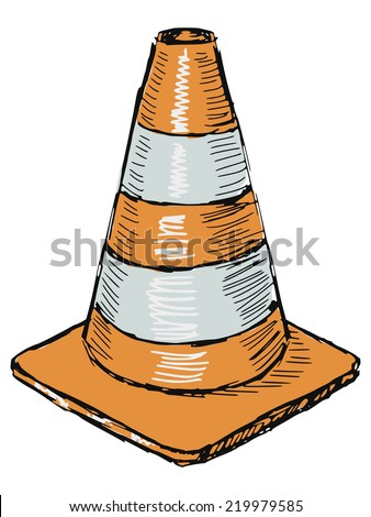 hand drawn, sketch illustration of traffic cone - stock vector