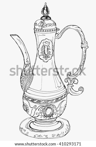 Hand drawn sketch illustration on paper of teapot (carafe) in oriental style with patterns vector. Design element for menu, postcard and print