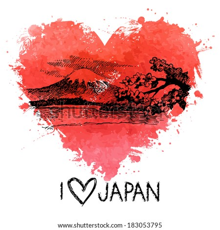 Hand drawn sketch Japanese illustration with splash watercolor heart   - stock vector