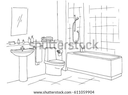Hand Drawn Sketch Linear Sketch Interior Stock Vector - Drawing of bathroom