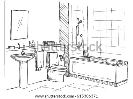 Sketch Of Bathroom