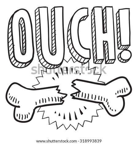 Hand drawn sketch of a bone breaking with a caption saying ouch to indicate pain, injury, or need for medical treatment. - stock vector