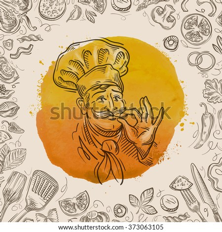 hand-drawn sketch of a happy chef and the food. vector illustration - stock vector