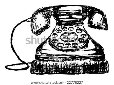 Hand-drawn Sketch of an Old Vintage Telephone - stock vector