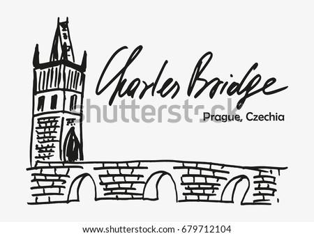 Hand Drawn Sketch Charles Bridge One Stock Vector Hd Royalty Free