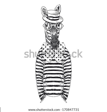 Hand drawn sketch of dressed up zebra isolated on white - stock vector