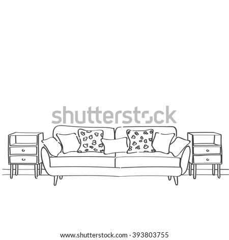 Outline drawing stock images royalty free images for Living room outline
