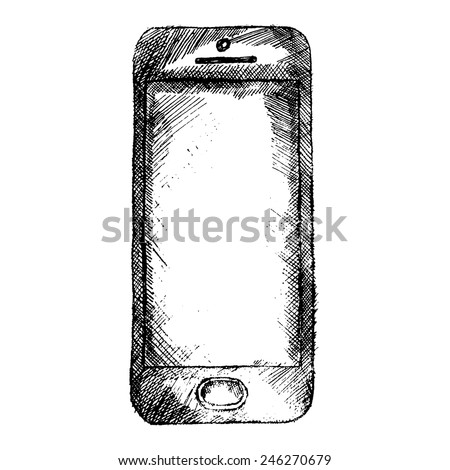Hand drawn sketch of mobile phone front isolated on white background. - stock vector