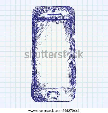 Hand drawn sketch of mobile phone front on paper notebook. - stock vector