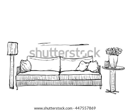 Outline sketch stock images royalty free images vectors for Living room outline