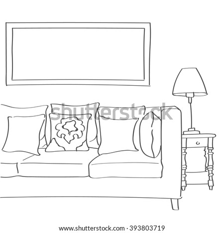 Hand drawn sketch of modern living room interior with a couch, pillows and a lamp. - stock vector