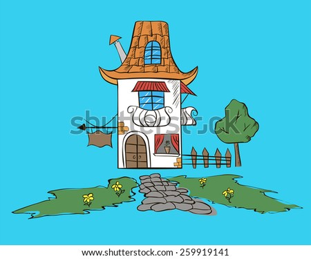 Hand drawn sketch of old European house. - stock vector