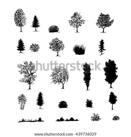 Hand drawn sketch of trees, bushes, grass. Black silhouettes isolated on a white. Vector illustration - stock vector
