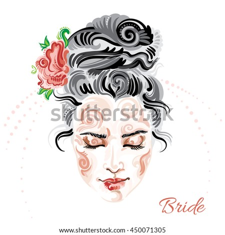 Hand drawn sketch portrait of a bride with frizzy black hair, red flower and makeup. Wedding.