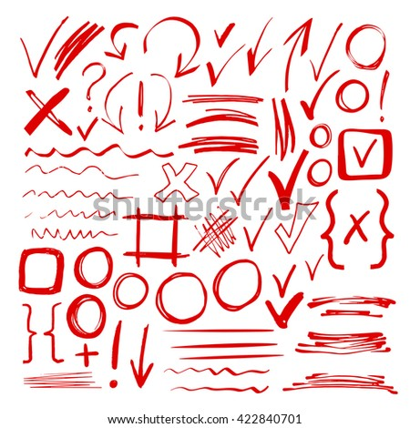 Hand drawn sketch red marker, brushed signs, arrows, lines, handwritten, marker design elements set  isolated