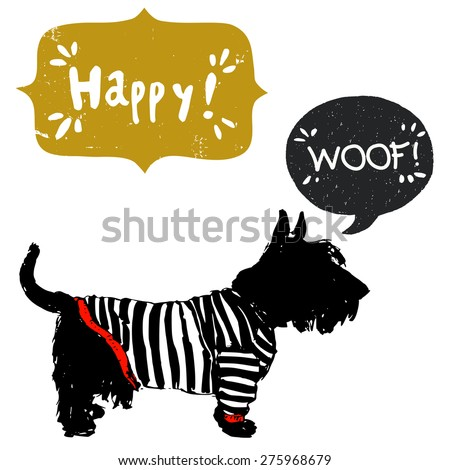 Hand drawn sketch Scottish terrier in a sailor shirt, isolated on white background with speech bubbles for the text - stock vector