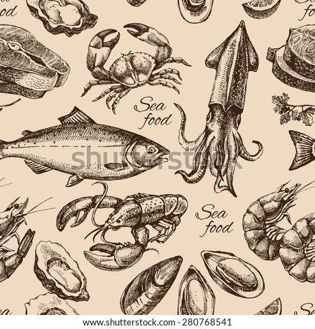 Hand drawn sketch seafood seamless pattern. Vintage style vector illustration	 - stock vector