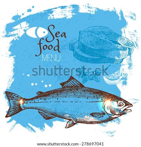 Hand drawn sketch seafood vector illustration. Sea poster background. Menu design - stock vector