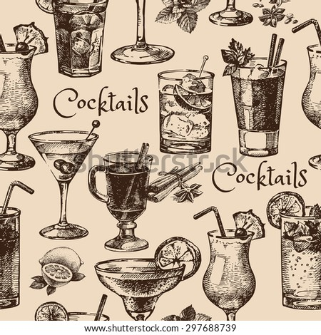 Hand drawn sketch seamless pattern of alcoholic cocktails. Vector illustration - stock vector